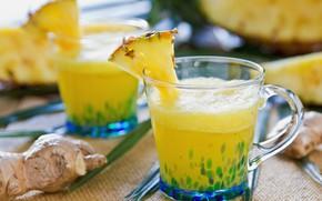 Картинка напиток, ананас, имбирь
