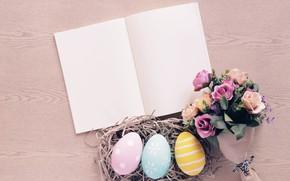 Картинка цветы, розы, яйца, весна, colorful, Пасха, сено, wood, flowers, spring, Easter, eggs, roses, decoration, Happy, ...