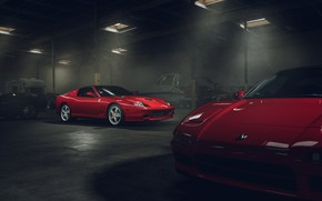 Обои Supercar, Red, Garage, Front, Ferrari, Superamerica