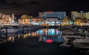 Картинка ночь, огни, дома, яхты, лодки, фонари, Португалия, набережная, причалы, Faro