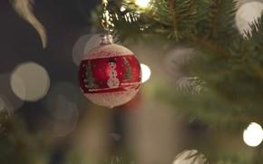 Картинка праздник, игрушка, елка, шар, шарик, снеговик