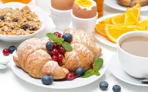 Картинка Ягоды, Яйца, Тарелка, Еда, Завтрак, Круассан
