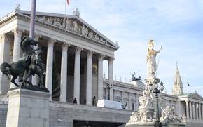 Картинка Австрия, Парламент, скульптура, Вена, Ратуша, Афина-Паллада, Внутренний город