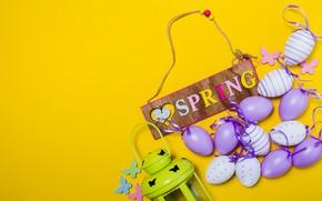 Картинка весна, Пасха, spring, Easter, purple, eggs, decoration, Happy, яйца крашеные