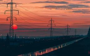 Картинка дорога, солнце, пейзаж, закат, Aenami, Any Minute Now, лини электропередач, Alena Aenami, Алёна Величко