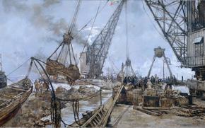 Обои Johan Hendrik van Mastenbroek, Перекрытие Залива Зейдерзе, картина, масло, холст