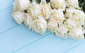 Картинка цветы, розы, букет, white, белые, бутоны, wood, flowers, roses
