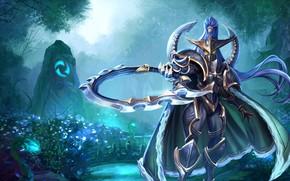 Картинка World of Warcraft, fantasy, game, Warcraft, armor, green eyes, weapons, digital art, artwork, mask, warrior, …