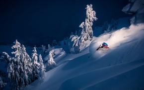 Обои лыжник, спуск, спорт, зима, снег, гора