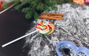 Картинка Новый год, Леденец, Корица, Ветки ели, Мука