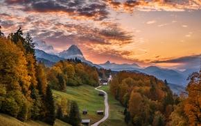 Обои осень, Бавария, дом, деревья, дорога, Германия, природа, горы