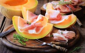 Обои хамон, еда, jamon, melon, дыня, мясо