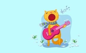 Картинка кот, настроение, праздник, подарок, гитара, вектор, весна, арт, песня, подснежник, сюрприз, март, 8 матра, мартовский …