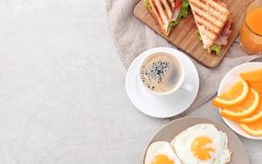 Обои завтрак, тосты, кофе, апельсин, яичница