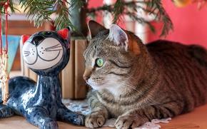 Обои полосатый, статуэтка, глаза, елка, кот