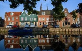 Картинка вода, деревья, ветки, отражение, река, лодка, дома, канал, Нидерланды, автомобили, Monnickendam