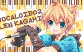 Картинка взгляд, музыка, мальчик, Vocaloid, Вокалоид, Лен