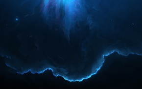 Обои космос, синий, nebula, Небула, 8k
