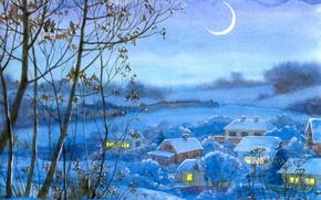 Картинка Зима, Рисунок, Деревья, Деревня, Живопись, Полумесяц