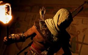 Картинка герой, факел, полумрак, Ubisoft Montreal, Action-adventure, Assassin's Creed Origins