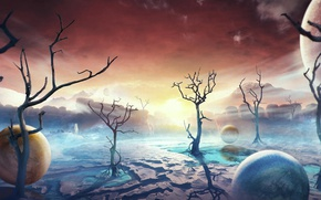 Картинка небо, деревья, горы, шары, планета, astronaut