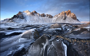Картинка Исландия, frozen, Iceland, Vestrahorn, Stokksnes