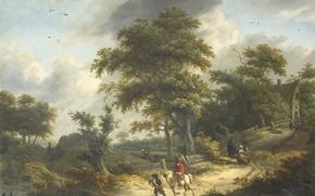 Картинка масло, картина, холст, Roelof Jansz van Vries, Пейзаж с Сокольничим
