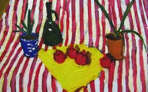 Картинка 2008, натюрморт, гранат, графин, алое, Петяев, полосатый стол