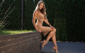 Обои туфли, Dmitry Sn, макияж, красотка, шатенка, деревья, позирует, Margarita Chelnokova, портрет, платье, сидит, солнце, зелень, ...
