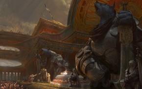 Картинка оружие, толпа, сооружение, доспехи, Empyriad