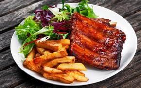 Картинка листья, тарелка, мясо, салат, картофель