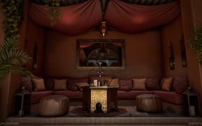 Картинка кальян, зеркало, помещение, Moroccan Courtyard, пуфы