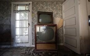 Картинка комната, двери, телевизоры