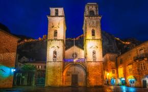 Обои церковь, горы, ночь, Kotor Cathedral, храм, Черногория, огни