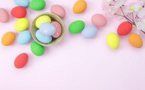 Картинка цветы, фон, розовый, яйца, весна, colorful, Пасха, wood, pink, blossom, flowers, spring, Easter, eggs, decoration, …