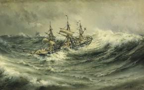 Картинка морской пейзаж, Herman Gustav Sillen, Vivir es festejar, Aguas negras., Корабль в бурю