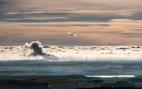 Картинка пейзаж, природа, туман, вечер, долина, ветряки, самолёт