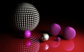 Обои шары, шарики, красный фон