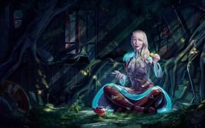 Картинка девушка, корни, чаепитие, помещение, Alice enjoying some tea