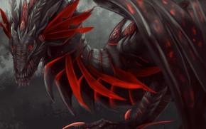 Обои лапы, арт, крылья, фэнтези, дракон, взгляд, красный