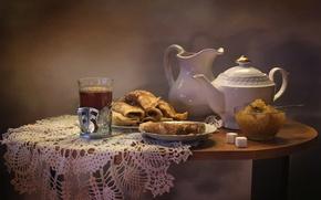 Обои чай, чайник, блины, варенье