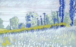 Картинка 1916, Charles Ephraim Burchfield, Landscape with Trees and Telephone Poles