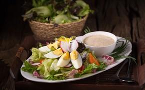 Картинка овощи, соус, листья салата, egg, vegetables, salad