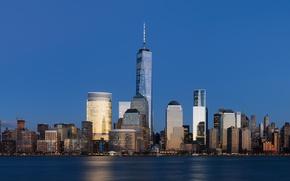 Картинка Город, Небоскребы, Побережье, Манхэттен, Всемирный торговый центр, Нью- Йорк