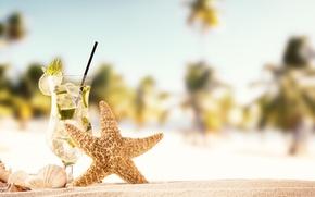 Картинка песок, море, пляж, лето, солнце, ракушки, summer, beach, каникулы, sand, mojito, сланцы, vacation, starfish, seashells