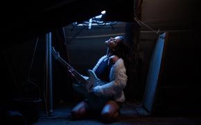 Обои девушка, музыка, настроение, гитара