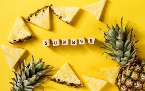 Картинка лето, фон, ананас, дольки