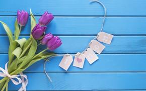 Картинка цветы, букет, тюльпаны, love, fresh, wood, flowers, romantic, tulips, spring, purple, with love, mother's Day