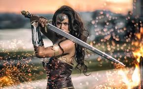 Картинка девушка, огонь, меч