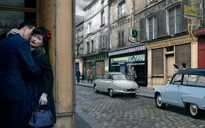 Обои город, любовь, авто, улица, Stories, ретро, пара